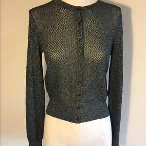 Missoni NWT sparkle gold and blue cardigan sheer